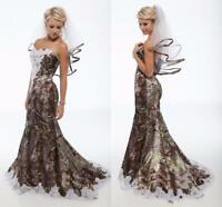 2019 Camo Wedding Dresses Plus Veils Vintage Sweetheart Lace Mermaid Bridal Gown