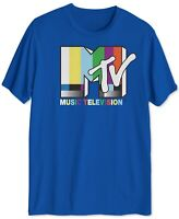 MTV Mens T-Shirt Blue Size Large L Crewneck Retro Music Television Tee 110