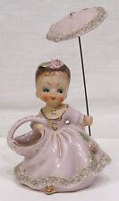 Vtg Figurine Girl w Parasol Toothpick Holder Lavender Dress Umbrella Gold Trim