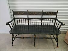 Vintage Wooden Bench in Black with gold Stencil Accents - seats 3