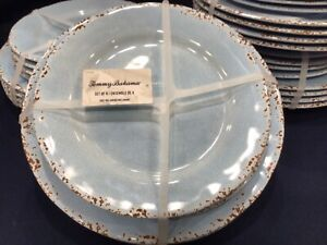 8 PC Tommy Bahama Blue Brown MELAMINE Set 4 Dinner Plates 4 Salad Plate CRACKLE