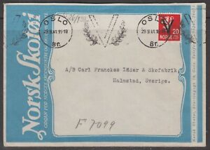 Norway 1941. WW2. Logo cover to Sweden. German censorship.