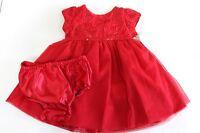 Koala Baby Girls Red Rosette Short Sleeve Dress Tulle diaper cover Size 6M 12M