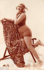 BE168 Carte Photo vintage card RPPC Femme woman maillot bain Pin-up