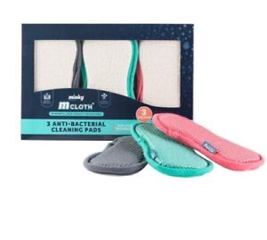 Minky M Cloth Anti-bacterial Cleaning Pad 3pk Limited Edition Grey Pink Green