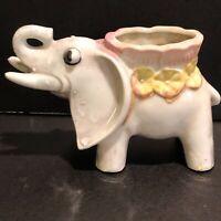 Vintage Lustreware Elephant Planter Vase Made In Japan w/Trunk Up