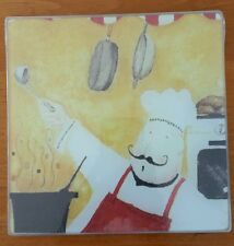 """COOKING CONCEPTS 7.75x7.75""""in SQUARE CHEF DESIGN GLASS CUTTING BOARD TRIVET"""