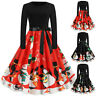 Womens Vintage Christmas Bow Swing Dress Ladies Long Sleeve Party Skater Dresses