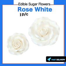 1pc White Edible Sugar Flowers Large Rose Cake Decorations Toppers Flowers