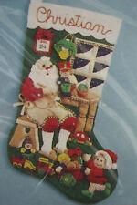 "Santa's Workshop 18"" Felt Applique Stocking Kit 83200 Bucilla 1994 Sealed USA"