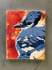 "Blue Jay 8""x10""x1"" Painting on Canvas - Graffiti Planet Giggles Stencil Bird Egg"