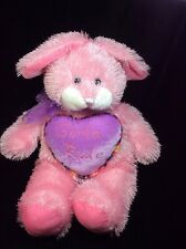 """Sugar Loaf Pink Girls Rule  Bunny Rabbit Shaggy Plush Soft Toy Stuffed 15"""""""