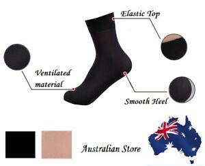 Ladies Women Nylon Elastic Opaque Anklet Stocking Silk Short Socks Black Beige