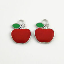 20PCS Red Tone Enamel Alloy Charms Apple DIY Pendant Accessories Crafts Findings