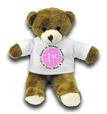 "Personalised Happy 1st Birthday Gift 7"" Teddy Bear - Pink"