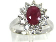 African Ruby Ring Halo 14K white gold Heirloom Deep Red Ruby Natural Free