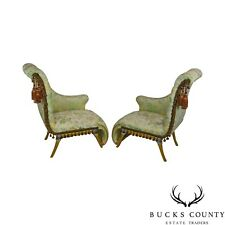 French Louis XV Style Vintage Pair Silver Gilt Recaimer's Small Chaise Lounges