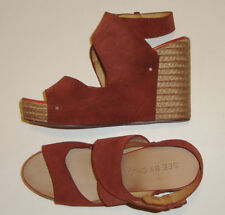 BEAUTIFUL SEE BY CHLOE TAN SUEDE ESPADRILLE STYLE WEDGE SANDALS size 40.5