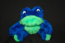 "Handmade  Haan Crafts Frog  Blue Green 9"" Plush Stuffed Animal  Lovey Toy"