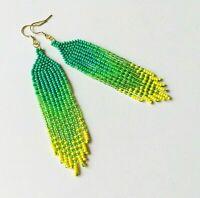 Green beaded earrings, Long seed bead earrings, Fringe ombre bead earrings