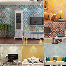 Deluxe 3D Embossed Textured Flocking Damask Floral Wallpaper Wall Background 10M