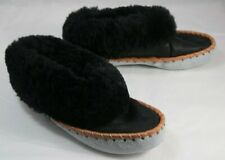 Pair Moccasins Black Sheepskin / Pale Blue Soles 40 Slippers Native Look Rustic