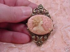 (CM88-2) WOMAN Oval pink CAMEO Pin Pendant JEWELRY cameos