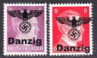 GERMANY 510-511 1944 DANZIG EAGLE OVERPRINT OG NH U/M F/VF TO VF BEAUTIFUL GUM