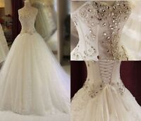 Sequined net Crystals Beading Sweetheart Wedding Dresses Bridal Gown Long Train