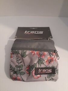 Trans Jansport Waist Pack Coral Botanic Floral Fanny Pack 2-zip pocket Belt Bag