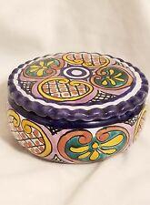 Talavera round trinket dish w/lid signed Rdo. de San Miguel Allende GTA Mexico