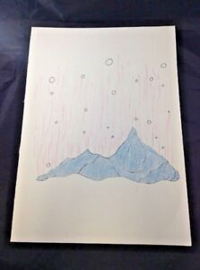 Metallic Mountain Drawing Abstract Landscape Original Art Ink on Paper Pink