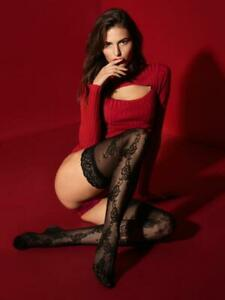 FIORE FRANCINE STAY UP THIGH HIGH STOCKINGS FINE EUROPEAN  3 SIZES BLACK