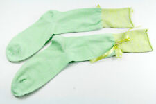 STYLISH LOUNGE LIME/APPLE GREEN SOCKS SILVER THREAD RIBBON FLOWER DETAIL (MS8)