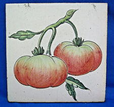 Vintage Old Look Tea Tile Trivet Lgh Made in Spain Tomatoes Faience Age Wear 7""