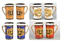 Set of 2 Euro Porcelain Medusa Fine Bone China Coffee Tea Mugs / Cups - 12 oz