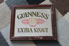 """More details for guinness extra stout vintage mirror in frame 12""""x 10"""" rare bar room man cave pub"""