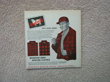 Vintage 1952 Woolrich Red Plaid Wool Mountain-Made Hunting Clothes Print Ad