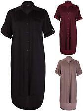 Womens Plus Size Turn Up Sleeve Ladies Uneven Hem Fishtail Dress Long Shirt Top