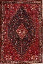 Antique Vegetable Dye Tribal Geometric Abadeh Navy/Red Area Rug Hand-Knotted 6x9