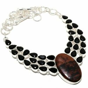 Mahogany Obsidian Black Onyx Necklace Silver Ethnic Jewelry For Gift MQ-1551