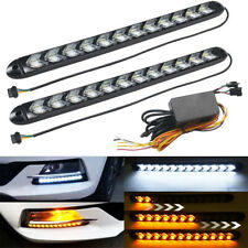 White Amber Flowing Strip DRL Arrow Flasher Dynamic Turn Signal Light 12 LED