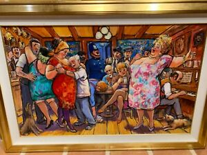 "Barry Leighton-Jones oil painting canvas Busy Social Scene 30""x48"" 1 OF HIS BEST"