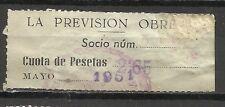 1799-SELLO ESPAÑA CUOTA LA PREVISION OBRERA EN CATALAN Y CASTELLANO,1951