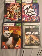Xbox 360 Lot of 6 Games Kung Fu Panda Just Dance Kinect Adv Fear Dj Hero Zumba