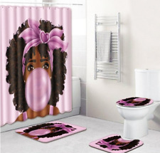 Black Woman Pink Bubble Bathroom Shower Curtain Toilet Cover Rug Set
