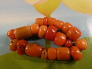 20 ANTIQUE NATURAL RED INDO TIBETAN [ NEPALI ] CORAL BEADS HUNDREDS OF YEARS OLD