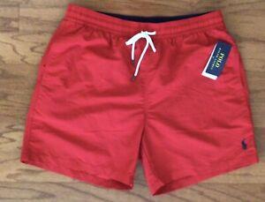 NWT POLO RALPH LAUREN Men's Traveler Red Swim Trunks Suit Pony Logo Lg