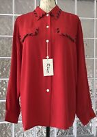 RIVA SILK NWT Women's Red Blouse Top w Black Accent Button Down Long Sleeve  L
