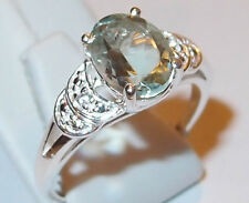 Green Amethyst and Simulated Diamond (1.70ct) Sterling Silver ring, Size O.